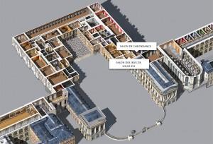 Situation du salon de l'Abondance, au premier étage du corps central nord du château.