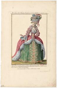 Costume de Dame de cour en usage pour les bals de la Reine sous le règne de Louis XVI, par Claude-Louis Desrais (1746-1816), peintre-dessinateur, et Nicolas Dupin le jeune (? - après 1789), graveur.