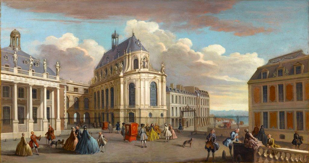 Le château de Versailles, cour de la chapelle.