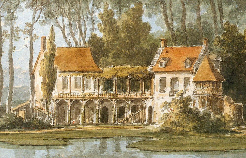 La maison de la reine vers 1785 représentée par claude louis châtelet détail dune aquarelle tirée dun recueil conservé à la biblioteca estense